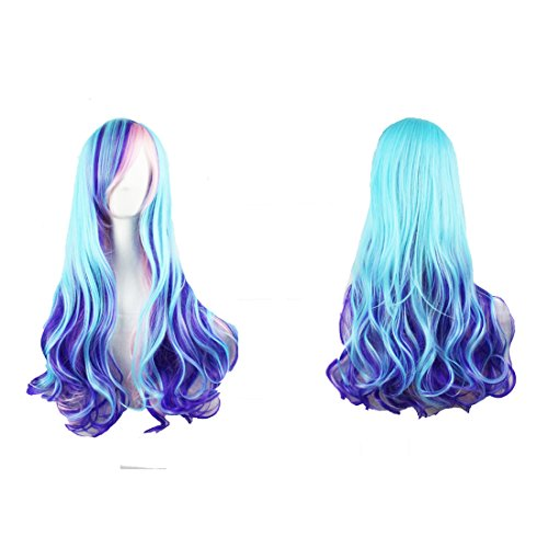 Ombre Cosplay Wigs by YaRui Long Curly Highlights Anime Harajuku Lolita Girl's Party Wigs (Ombre Blue to Pink to Gold)