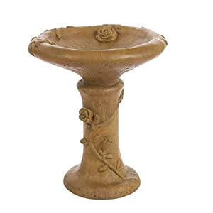Solid Rock Stoneworks Rose Bird Bath 17in Tall Brushed Moss Color