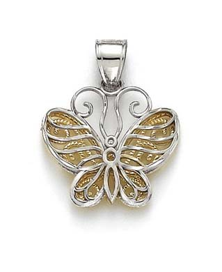 14 carats-Bicolore-Pendentif Papillon JewelryWeb Gallery