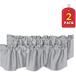 H.VERSAILTEX Home Decorative Thermal Insulated Scalloped Valances for Windows Rod Pocket Room Darkening Curtain Valances for Bedroom/Foyer, 2 Pack, 52 inch x 18 inch, Dove Gray