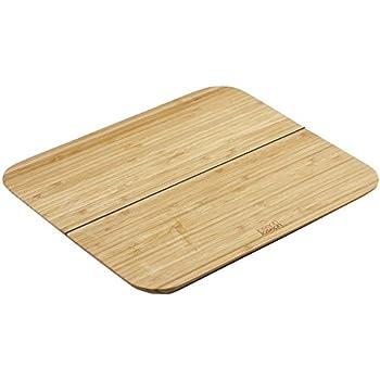 "Joseph Joseph 60111 Chop 2 Pot Foldable Bamboo Cutting Board 10.25"" x 8.25"" with Non-SlipSilicone Hinge Lays Flat Folds Up, Brown"