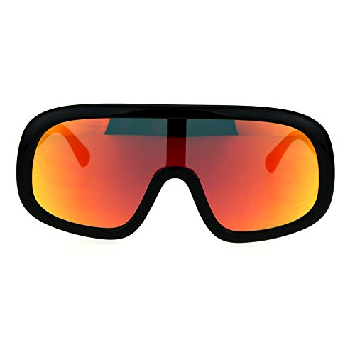 Shield Goggle Style Sunglasses Futuristic Fashion Black, Red Orange Mirror - Futuristic Goggles