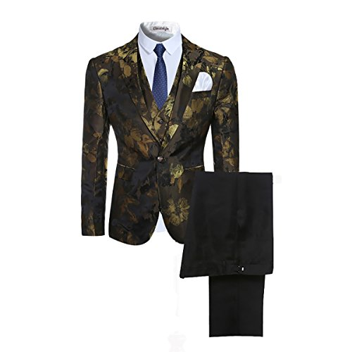 Cloudstyle Mens Fancy Notched Lapel Allover Floral Print Blazer suit 3-piece Set,Picture Color 2,Medium