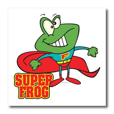 3dRose ht_103958_2 Cute Super Frog Superhero Cartoon-Iron on Heat Transfer for Material, 6 by 6-Inch, White