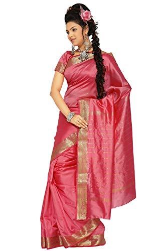 Sanskruti India Womens Indian Ethnic Traditional Banarasi Art Silk Saree Sari Wrap Fabric Dress Drape (Coral)
