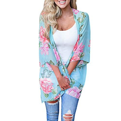 (Pengy Women's Bathing Suit Cover Ups Chiffon Printing Sandy Beach Smock Easy Blouse Tops Bohemian Dress Cover Sky Blue)