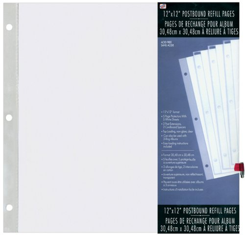 Top Postbound (Westrim Crafts 12x12 Top-Loading Postbound Page Protector 5-Pack)