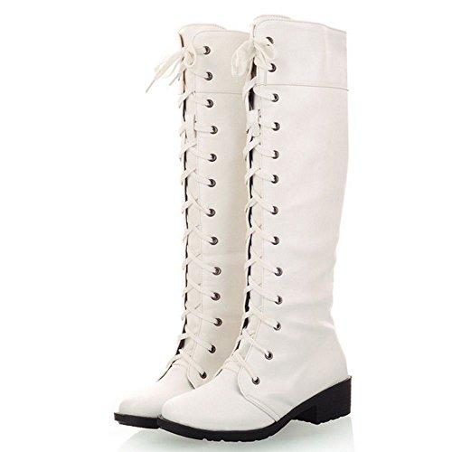 Con White Modello Stivali Stringate Scarpe RAZAMAZA Alti Donna Tacco Blocco AFwnaq