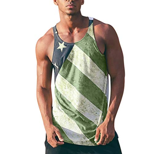 Sunyastor Men's Tank Tops Sleeveless O-Neck Summer American Flag Printed Tank Tops Muscle Casual Shirt Green