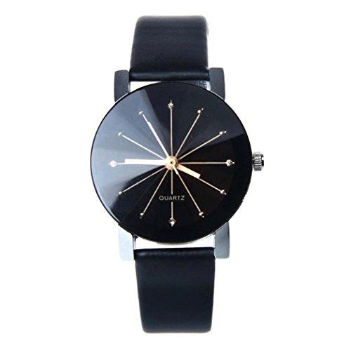 Tenworld Fashion Gift Womens Quartz Dial Clock Faux Leather Wrist Watch Round Case (Black)