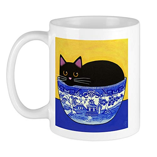 CafePress Black CAT In Blue Willow Bowl Mug Unique Coffee Mug, Coffee Cup