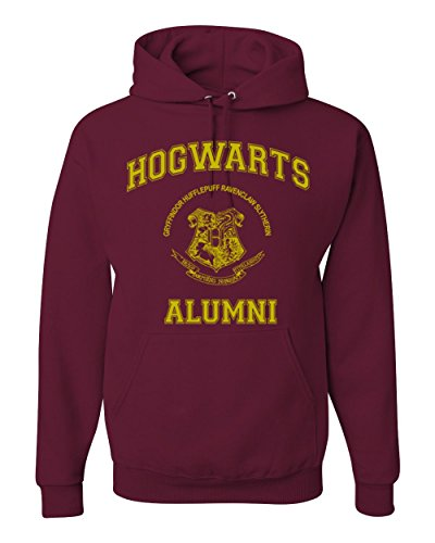 Sweatshirt Maroon Hoody (Gold Design Hogwarts Alumni Harry Potter Unisex Hooded Sweatshirt Fashion Hoodie ( Maroon , Medium ))