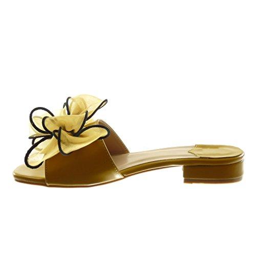Bloc Haut Jaune Femmes Slip Noeud Tulle De on De Des Mules Sandales Mode Noeud Angkorly Chaussures Cm Talon 4 BqFWPUZtxx