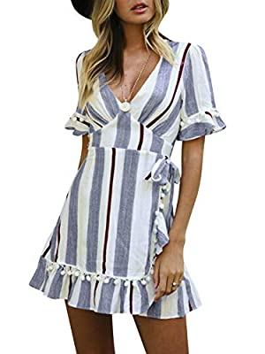 Simplee Women Sexy Deep V-Neck Short Sleeve Stripe Print Mini A Line Dress