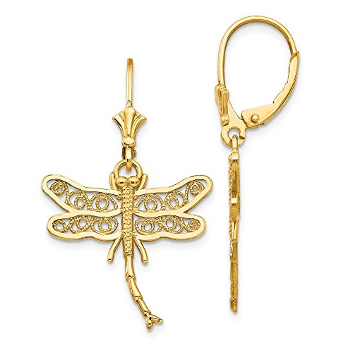 14k Yellow Gold Dragonfly Filigree Wings Leverback Earrings Lever Back Drop Dangle Animal Insect Fine Jewelry Gifts For Women For Her ()