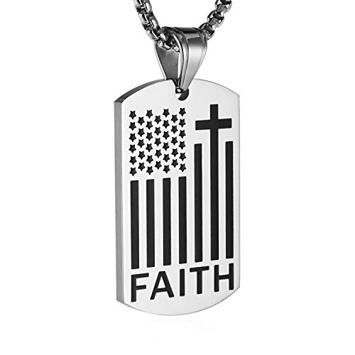 HZMAN American Flag Patriotic Cross Dog Tag Religious Faith Jewelry Pendant Necklace (Silver)