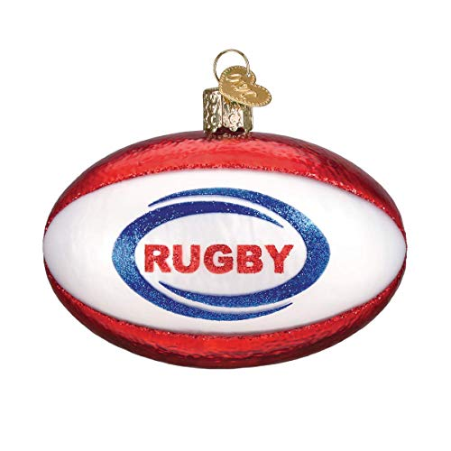 (Old World Christmas Rugby Ball Glass Ornament #44128)