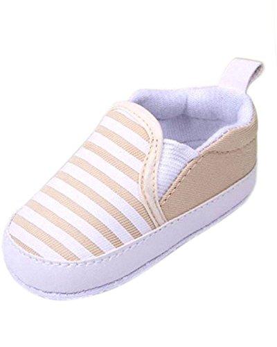 Minetom Casuales Zapatos del Niño Zapatillas de Bebé Unisex Algodón Cómoda Mezcla Rayas Antideslizantes Zapatos Caqui