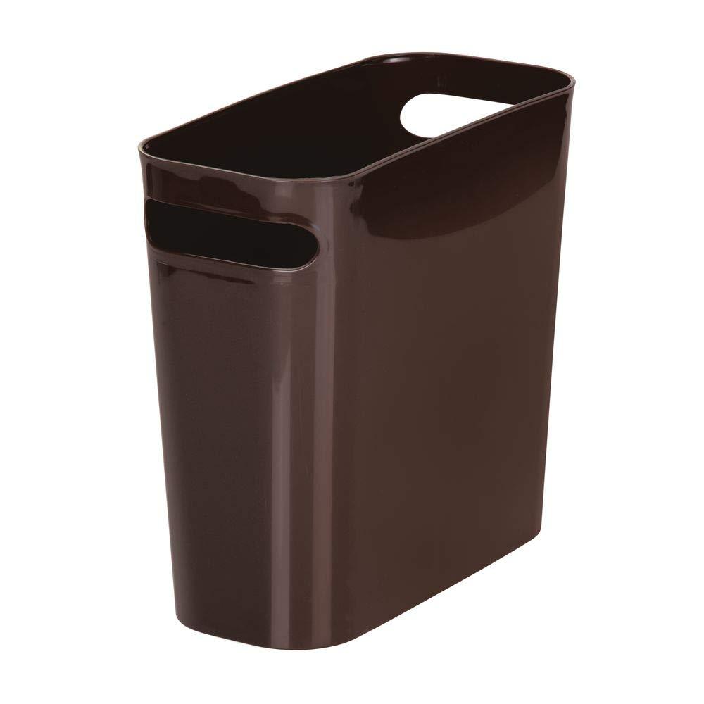 "mDesign Slim Plastic Rectangular Small Trash Can Wastebasket, Garbage Container Bin with Handles for Bathroom, Kitchen, Home Office, Dorm, Kids Room - 10"" High, Shatter-Resistant - Dark Brown"