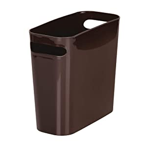 "mDesign Slim Plastic Rectangular Small Trash Can Wastebasket, Garbage Container Bin with Handles for Bathroom, Kitchen, Home Office, Dorm, Kids Room - 10"" High, Shatter-Resistant - Dark Brown"