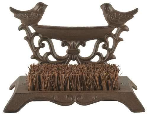 Esschert Design BR24 Series Bird Bootbrush in Giftbox, Antique Brown