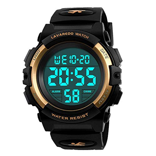 Kid's Watch,Boys Watch Digital Sport Outdoor Multifunction Chronograph LED 50M Waterproof Alarm Calendar Analog Watch for Children with Silicone Band Gold