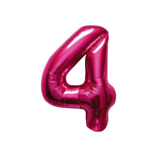 NorthStar Foil Balloon 000446 Number 4 Magenta 16 Pink
