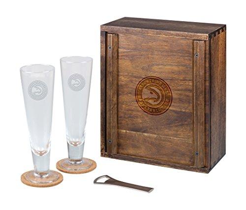 PICNIC TIME NBA Atlanta Hawks Acacia Wood Pilsner Beer Glass Gift Set for Two - Atlanta Hawks Glass