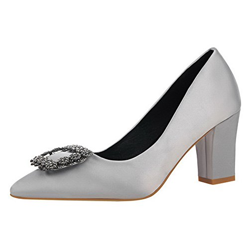 AalarDom Womens Soft Material Solid Pull-On Pointed-Toe High-Heels Pumps-Shoes Gray sZZEV