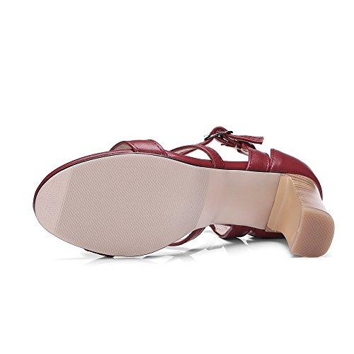 TAOFFEN Women Classic Block Heel Sandals Claret z5DJsi