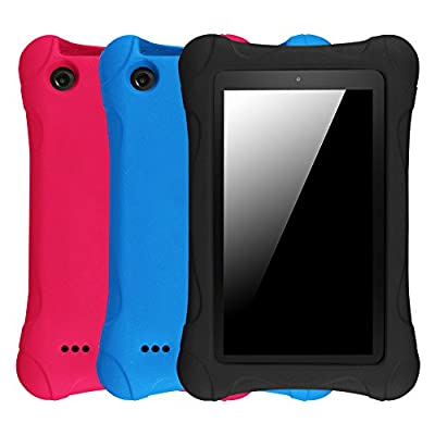 "[3-Pack] Fintie Shock Proof Case for Fire Tablet Variety Pack - Ultra Light Weight Kids Friendly Cover for Amazon Fire 7 2015 Tablet (Fire 7"" Display 5th Generation), Black/Blue/Magenta"