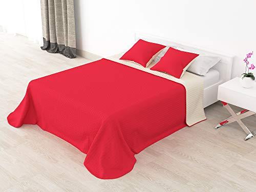 Cabetex Home - Colcha Bouti Reversible Bi-Color de Microfibra Transpirable con Cojines Mod Colors (Rojo/Crema, Cama de 90 cm (180x255 cm))