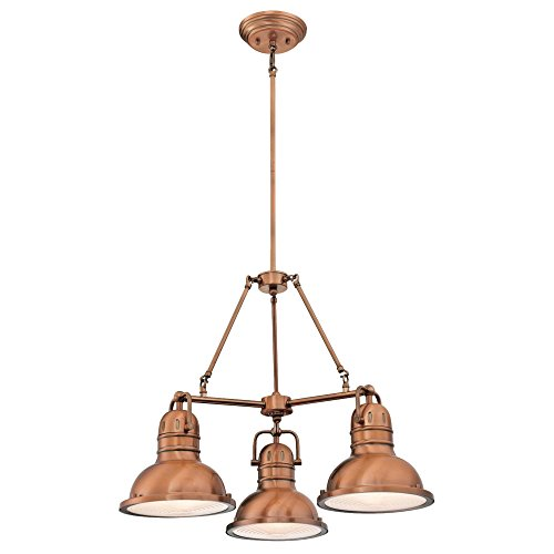 Copper Light Fixture - Westinghouse 6333800 Boswell Three-Light Indoor Chandelier, Washed Copper Finish with Prismatic Lens