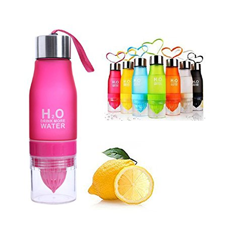 CoolKo Newest Leak Proof Portable 650ML Red H2O Infuser Sports Water Bottle Health Juice Fruit Squeezer Cup, Own Natural Flavored Fuit Infused Water for Healthy Drinks - Stainless Steel Bottle