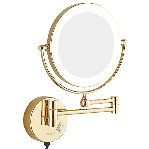 GURUN 8.5 Inch LED Lighted Wall Mount Makeup Mirrors with 7x Magnification,Gold - Bathroom Mirrors Lighted Brass