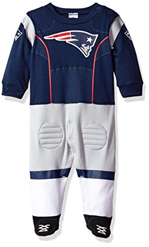 iots Boys Footed Footysuit, 0-3 Months, Navy (New England Patriots Infant)