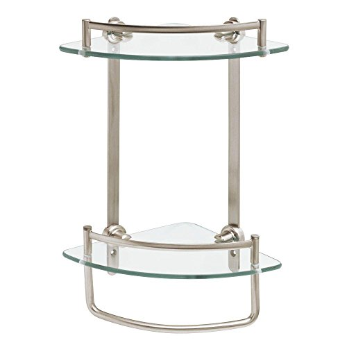 Delta FSS16-BN 8 in. Glass Double Corner Shelf with Hand Towel Bar in SpotShield Brushed Nickel ()