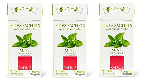 Radius Floss Sachets Vegan Xylitol Mint (Pack of 3) with Vegan Candelilla Plant Wax and Gluten Free, 20 sachets per pack
