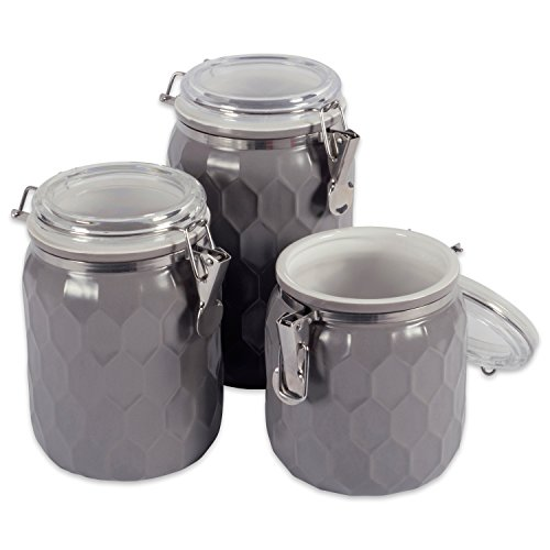 DII 3-Piece Modern Honeycomb Half Matte Glaze Ceramic Kitchen Canister Jar With With Airtight Clamp Lid For Food Storage, Serve Coffee, Sugar, Tea, Spices and More and More, Gray