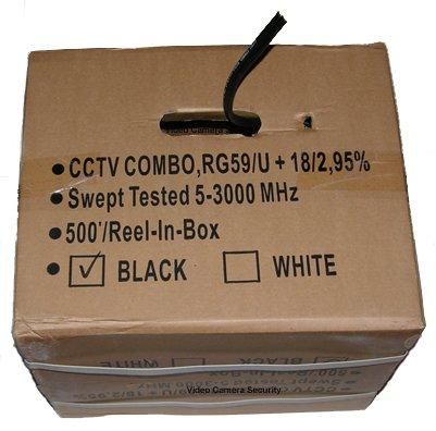 - 500' CCTV Cable RG-59U 18/2 Siamese Power/Video Cable Black
