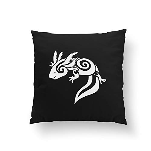 DreamsBig Reversable Black Tribal Axolotl Mexican Salamander Throw Pillow Home Decorative Throw Pillow Cushion Cases Cover Pillowcase One-Side 26x26 by DreamsBig