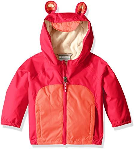 Columbia Kids' Toddler Kitteribbit Fleece Lined Rain Jacket, Bright Geranium/hot Coral, 4T ()