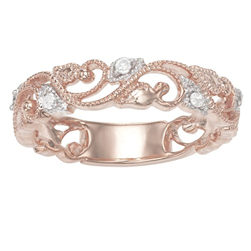 Sterling Silver 0.11 CTTW Diamond Ring Plated in Rose Gold
