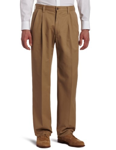 Haggar Men's Mitchell Pleat Front Rigid Waist Casual Pant,Brown,34x32 (Pant Front Pleat)