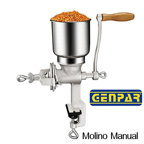 GENPAR SUPERIOR QUALITY Manual Grain Grinder with High Hopper Table Clamp Hand Mill Cast Iron GRIND Corn Soy beans wheat grains nuts Multigrain Home Kitchen grinding Adjustment for various recipes (1)
