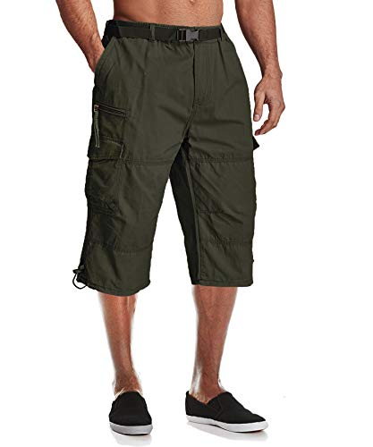 3/4 Pants for Men Casual Shorts Summer Shorts Relaxed Fit Climbing Shorts Long Shorts Cargo Work Shorts Knee Length Shorts Army Green