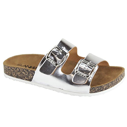 (Anna Women's Double Strap Cork Sole Slide Sandal with Buckle,188-silver,8)