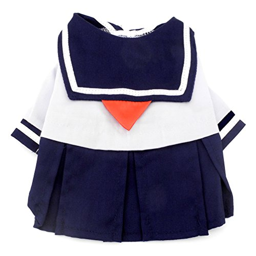 SMALLLEE_LUCKY_STORE Navy Captain Sailor Costume Dog Dresses Fresh Style Student Uniform, Blue, ()