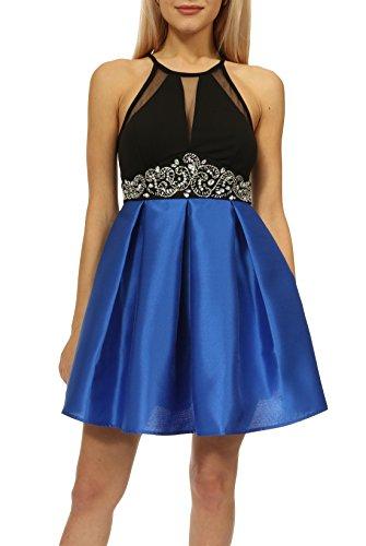 Beaded Empire Halter - Teeze Me Juniors Halter Illusion V Beaded Empire Waist Party Dress with Pockets