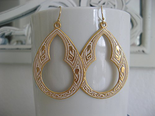 (Golden Celtic Hoop Earrings on Gold Filled Earring Wires White Patina Boho Jewelry)
